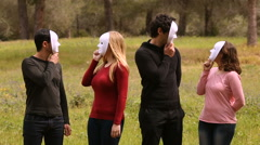 For people with masks for psychology concepts Stock Footage