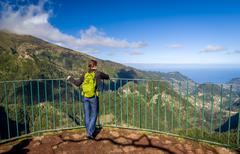 Woman at Balcoes levada viewpoint Stock Photos