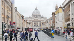 Basilica di San Pietro st Peter in Vatican - Travel Rome Italy tourists walking Stock Footage