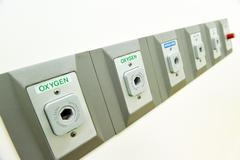 oxygen outlet in operating room - stock photo