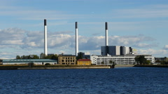 Zoom Out of Modern Power Plant in Copenhagen Denmark Stock Footage