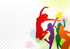 Dancing Colorful Girl Splash Stock Illustration
