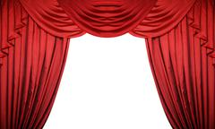 Open red curtains on white background. Theater or movie presentation or cinem - stock photo