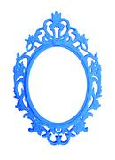 blue round vintage frame isolated on white background - stock photo