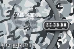 Military Background Coming Soon and countdown timer Stock Illustration