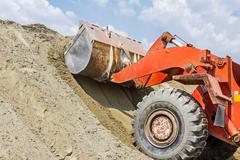 Bulldozer, view on front end loader - stock photo