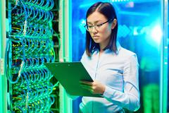 Working in data center - stock photo