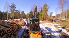 The aerial view of the forest log grapple Stock Footage