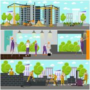 Construction site concept vector banner. Building, workers and machines, crane - stock illustration