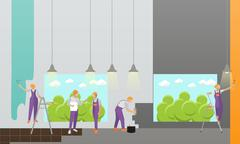Home interior and room repair vector banner. Workers make renovation in Stock Illustration