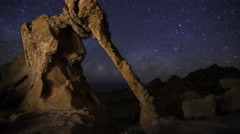 Astro Time Lapse of Milky Way over Elephant Rock in Valley of Fire SP -Tilt Up- Stock Footage