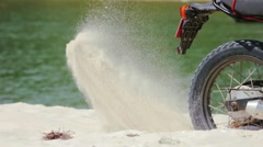 enduro Motorcycle Slipping Wheel in Sand in Slow motion Close up - stock footage