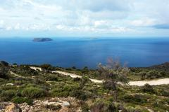 View from Nisyros, volcanic Greek island - stock photo