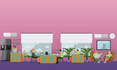 Family at home. People having dinner. Vector illustration in flat style desig Stock Illustration