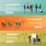 Flat design of business people or office workers. Presentation and meeting - stock illustration