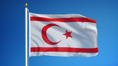 Turkish Republic of Northern Cyprus flag in slow motion seamlessly looped with a Stock Footage