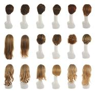 Hair wig over the mannequin head set Stock Photos