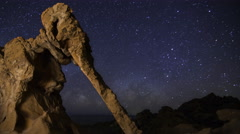 Astro Time Lapse of Milky Way over Elephant Rock in Valley of Fire SP -Pan Left- Stock Footage
