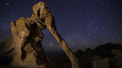 Astro Time Lapse of Milky Way over Elephant Rock in Valley of Fire SP -Zoom In- Stock Footage