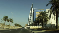 On Board Camera On A Car in King Faisal Highway. Diplomatic Area and WTC. Stock Footage