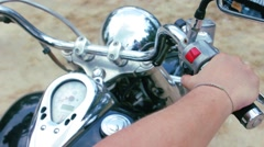 Motor biker starting engine on chopper motorbike Stock Footage