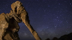 Astro Time Lapse of Milky Way over Elephant Rock in Valley of Fire SP -Zoom Out- Stock Footage