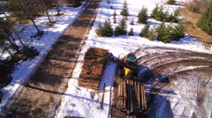 The aerial view of the wide snowy forest ground Stock Footage
