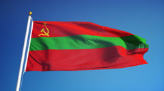 Transnistria flag in slow motion seamlessly looped with alpha Stock Footage