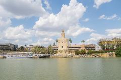 Torre del Oro, Sevilla, Guadalquivir river, Tower of gold, Seville, Spain Stock Photos
