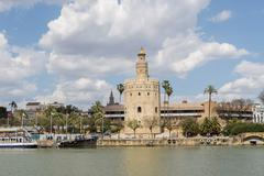 Torre del Oro, Sevilla, Guadalquivir river, Tower of gold, Seville, Spain Stock Photos