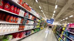 Cleaning product corridor in Superstore with 4k resolution Stock Footage