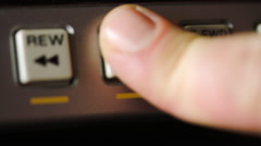 Finger Pushing The Play And Stop Buttons Of A Beta Max Stock Footage