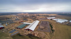 Aerial shot of the big farm in the country Stock Footage