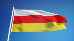 South Ossetia flag in slow motion seamlessly looped with alpha Stock Footage
