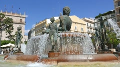 The Turia Fountain in the Plaza de la Virgen in Valencia, Spain. Stock Footage