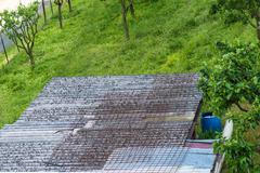 Roof particular asbestos Stock Photos