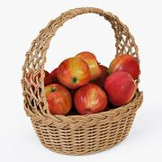 Wicker Basket 04 Natural Color with Apples - 3D model
