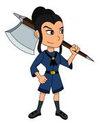 Cute girl warrior cartoon Stock Illustration