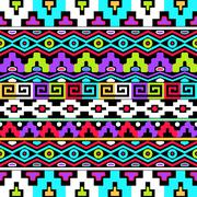 Colorful vector ethnic seamless pattern - stock illustration