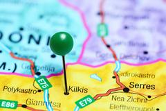Kilkis pinned on a map of Greece Stock Photos
