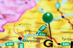 Kalampaka pinned on a map of Greece - stock photo