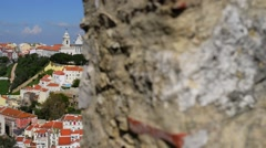Church in Largo da Graca, Lisbon, Portugal Stock Footage