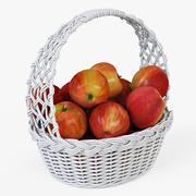 Wicker Basket 04 White Color with Apples - 3D model