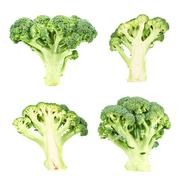 Cutaway and whole green broccoli Stock Photos