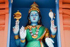 Hindu deity at Sri Mariamman Temple in Singapore - stock photo