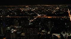 Bangkok night at tower Stock Footage
