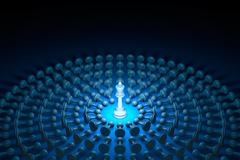 Great authority (chess metaphor). 3D rendering illustration - stock illustration