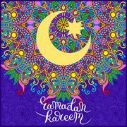 decorative design for holy month of muslim community festival Ra - stock illustration
