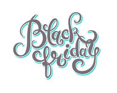 Black friday handmade lettering calligraphy, total sale discount Stock Illustration