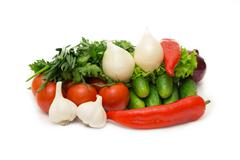 Assorted vegetables isolated on white background - stock photo